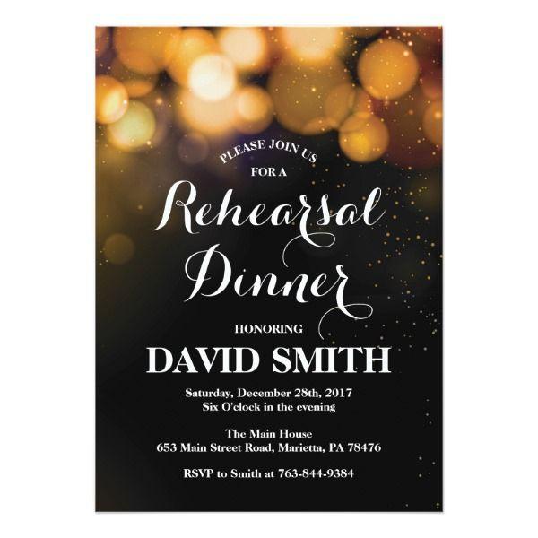 Rehearsal Dinner Invitation Card Gold Glitter | Zazzle.com