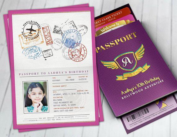 PASSPORT And TICKET Birthday Invitation Bollywood Travel