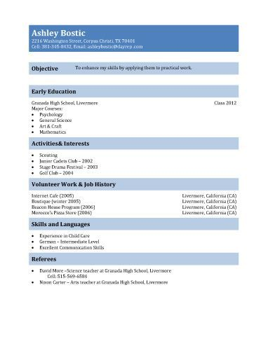 Teenage Resume Examples First Resume Template For Teenagers  Teen Resume Sample For 15 And .