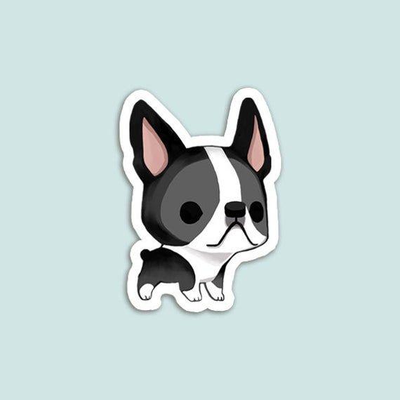 Vinyl Sticker Boston Terrier Black And White Etsy In 2020 Black And White Stickers Boston Terrier Dog Crafts