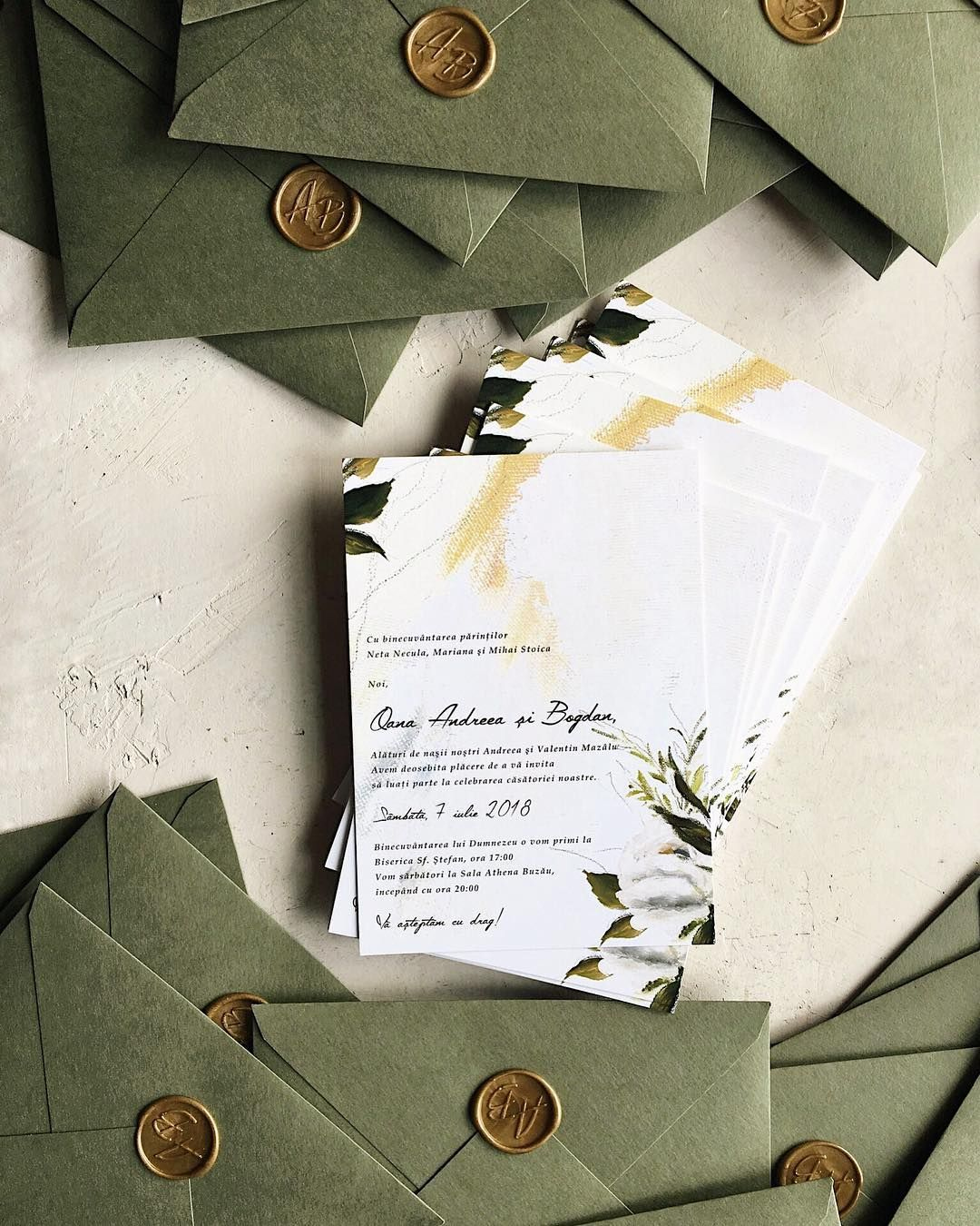 Greenery Wedding Invitations With Handmade Envelopes And Gold Wax