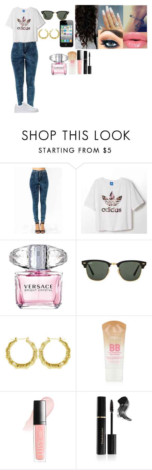 """""""O.O.T.D No.3"""" by janiahmurray ❤ liked on Polyvore featuring adidas, Retrò, Versace, Ray-Ban, Maybelline, Butter London and Elizabeth Arden"""