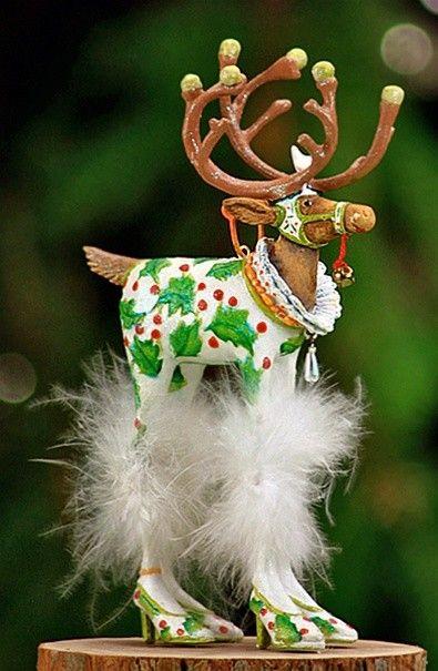 Krinkles by Patience Brewster - Dash Away Vixen Ornament Reindeer Ornaments,  Christmas Tree Ornaments, - Krinkles By Patience Brewster - Dash Away Vixen Ornament Krinkles