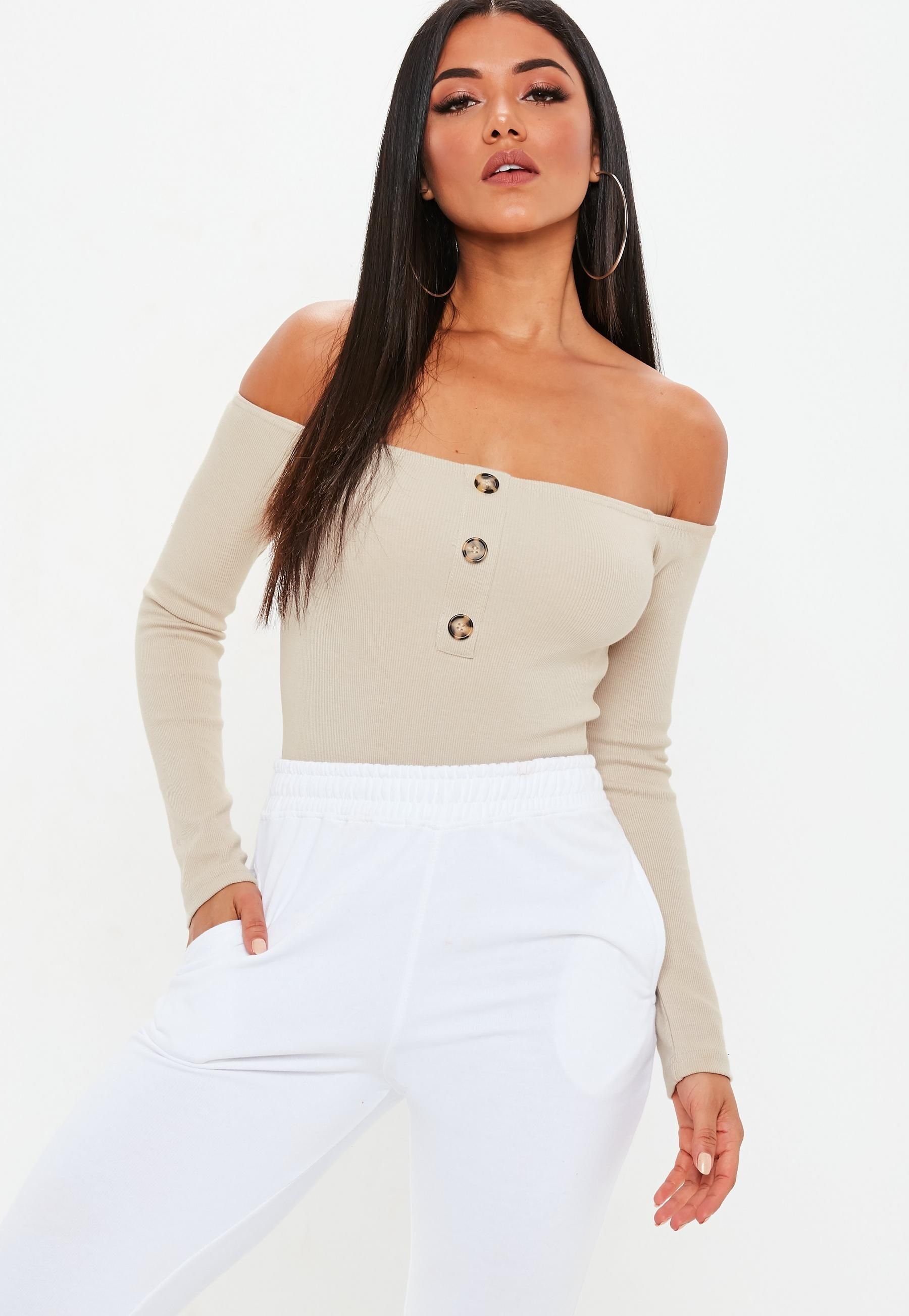 10a6e50f515 Cream Horn Button Long Sleeve Bardot Bodysuit