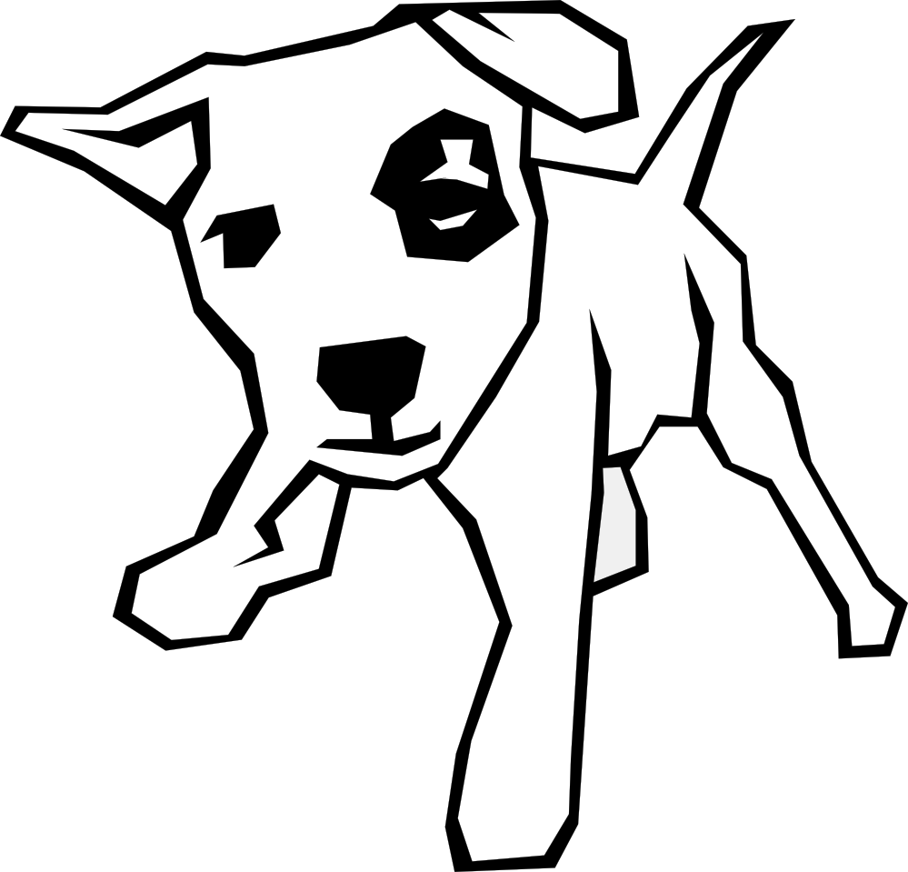 Dog Simple Drawing 5 Black White Line Art Scalable Vector Graphics Easy Drawings Black And White Drawing Kitten Drawing