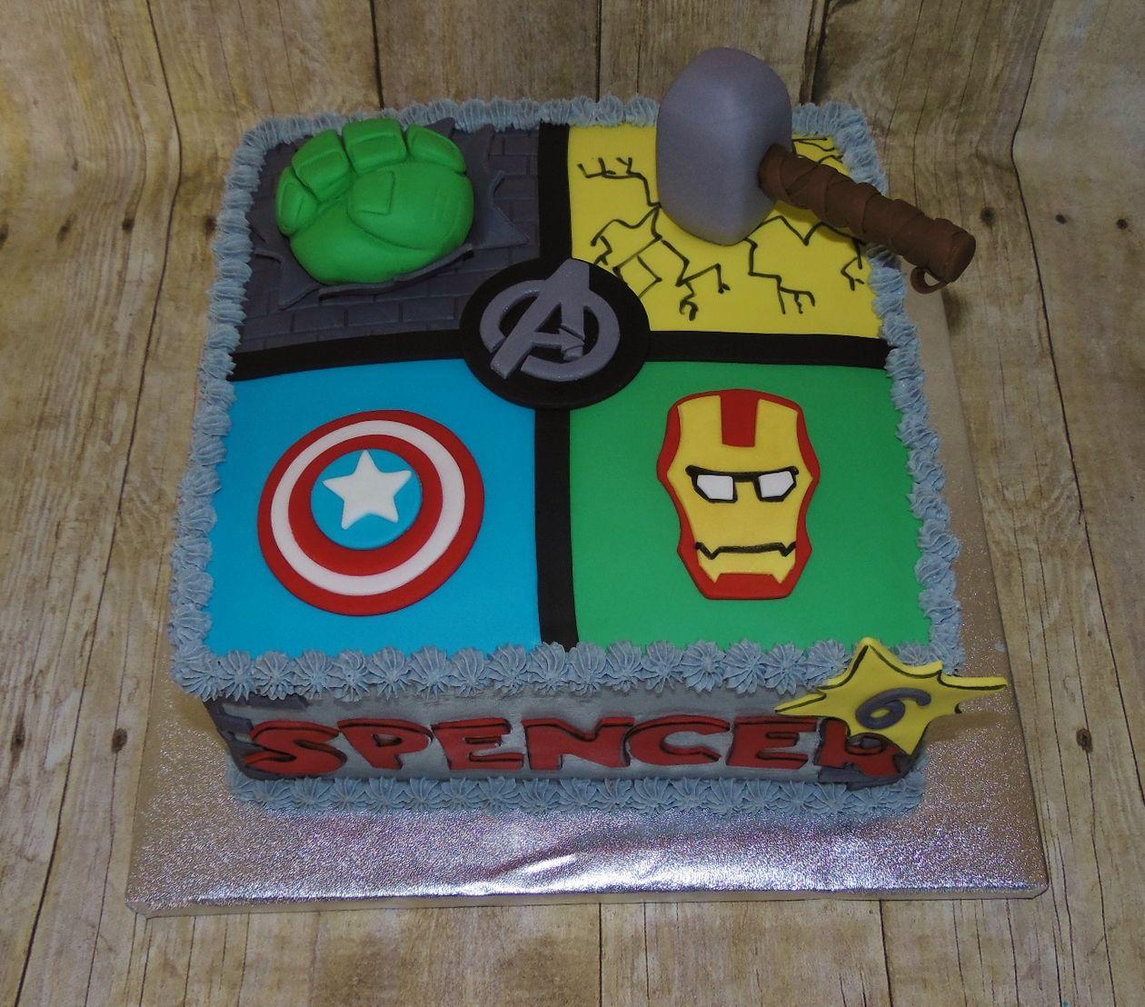 Superhero Avengers Birthday Cake Thor Captain America Hulk IronMan