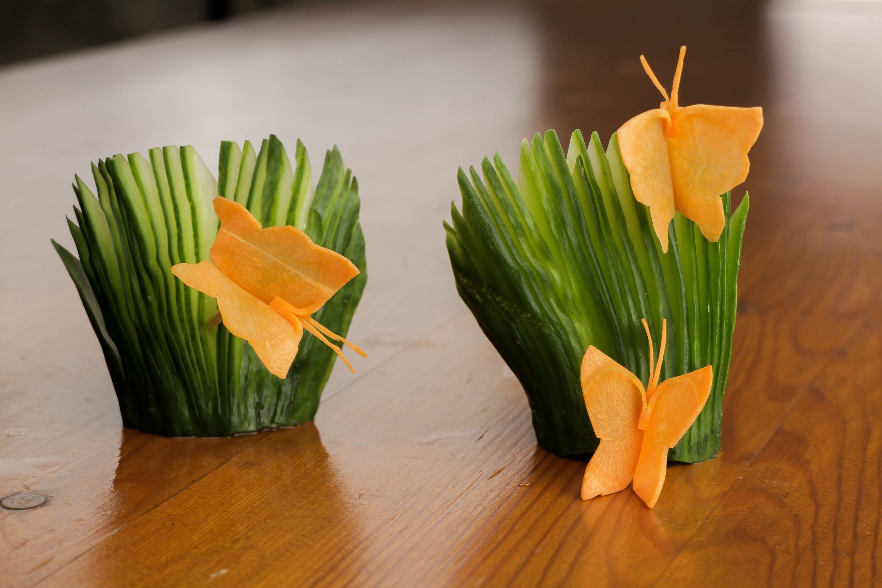 How To Make A Carrot Butterfly And Cucumber Fans Garnish ...