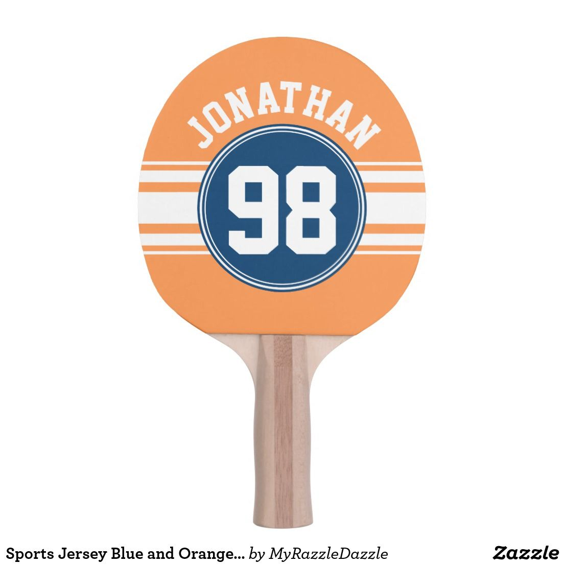Toys for kids logo  Sports Jersey Blue and Orange Stripes Name Number ping pong paddle
