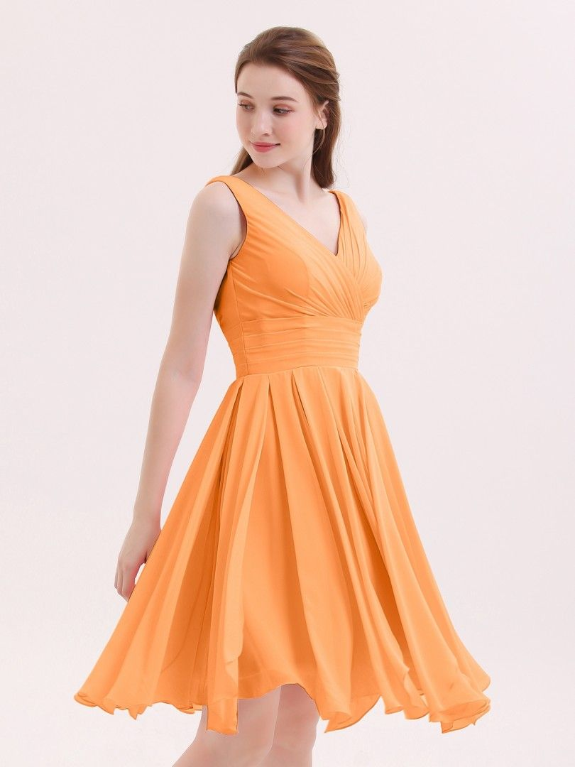 208366be624 Tangerine Babaroni Mabel Bridesmaid Dresses