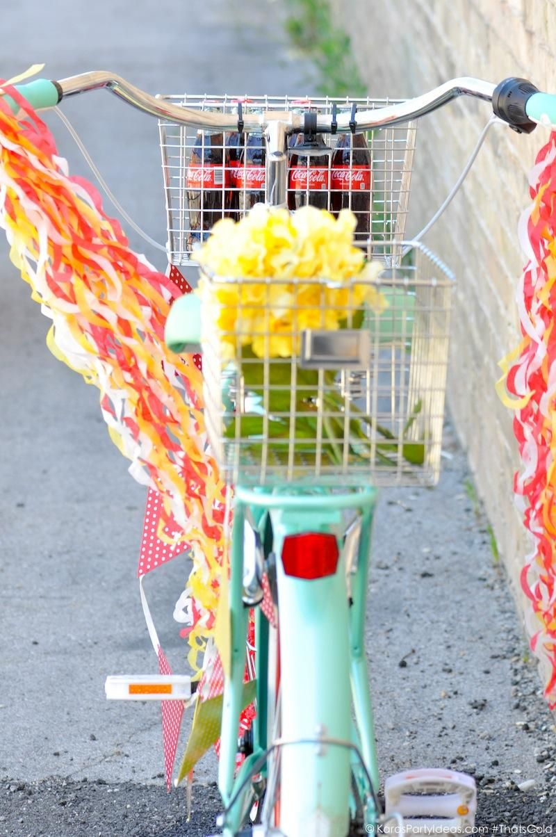 Bike Decorating for a Bicycle Parade by Kara's Party Ideas | Kara Allen for Coca Cola #ThatsGold-17