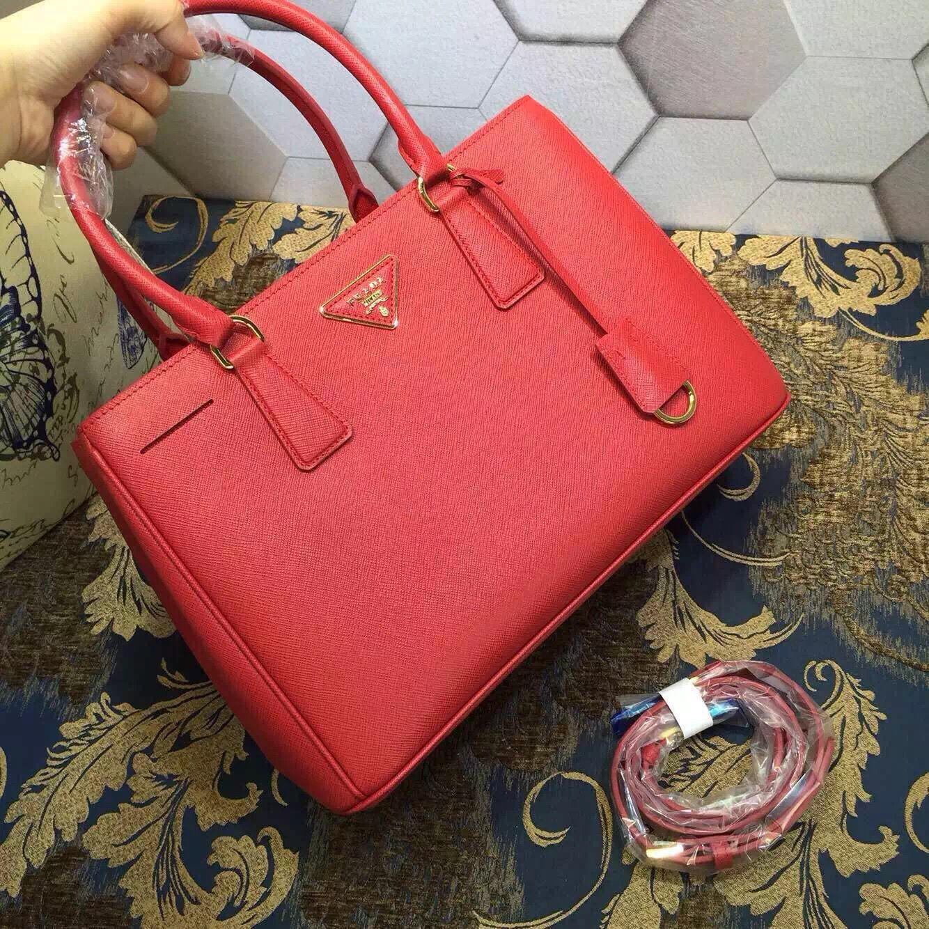 36159b77c485 Prada Saffiano Leather BN1874 Tote Bag Red | Prada Tote Bag on Sale ...