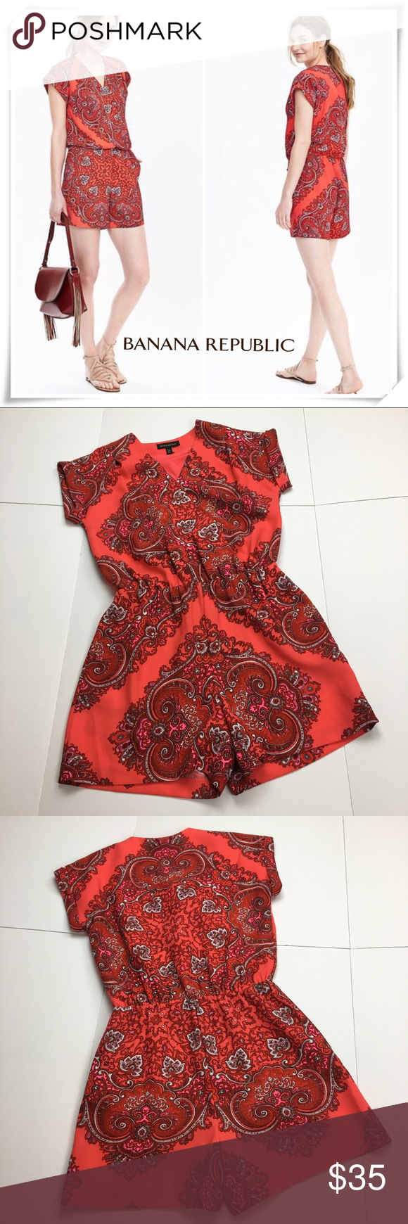 fdfb53e6aded Banana republic Red Paisley Romper Banana republic Red Paisley Romper Size  2 Petite   B 17.5