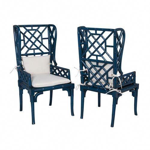 big bamboo circle chair mahogany chiavari handpainted blue wing back chairs set of two