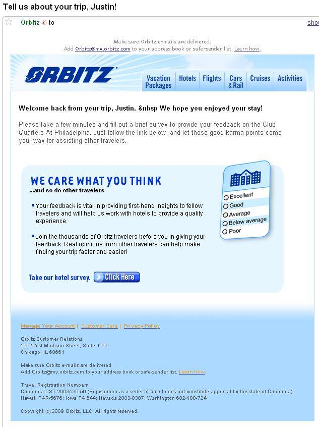 Sending Survey Emails Learn From Orbitz Example Letter