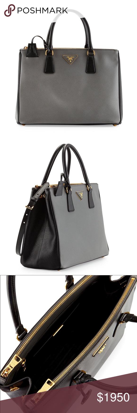 db194a3a8a96 Prada Bicolor Saffiano Leather Purse 🙌 Classic Saffiano Lux Bicolor  Double-Zip Tote Bag