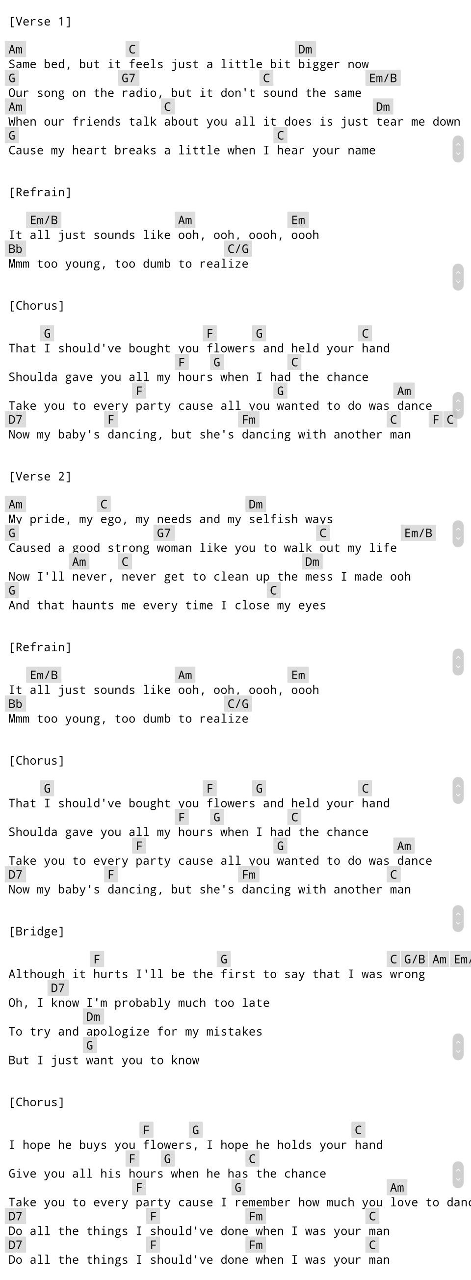 When I Was Your Man Bruno Mars Guitar Chords With Images