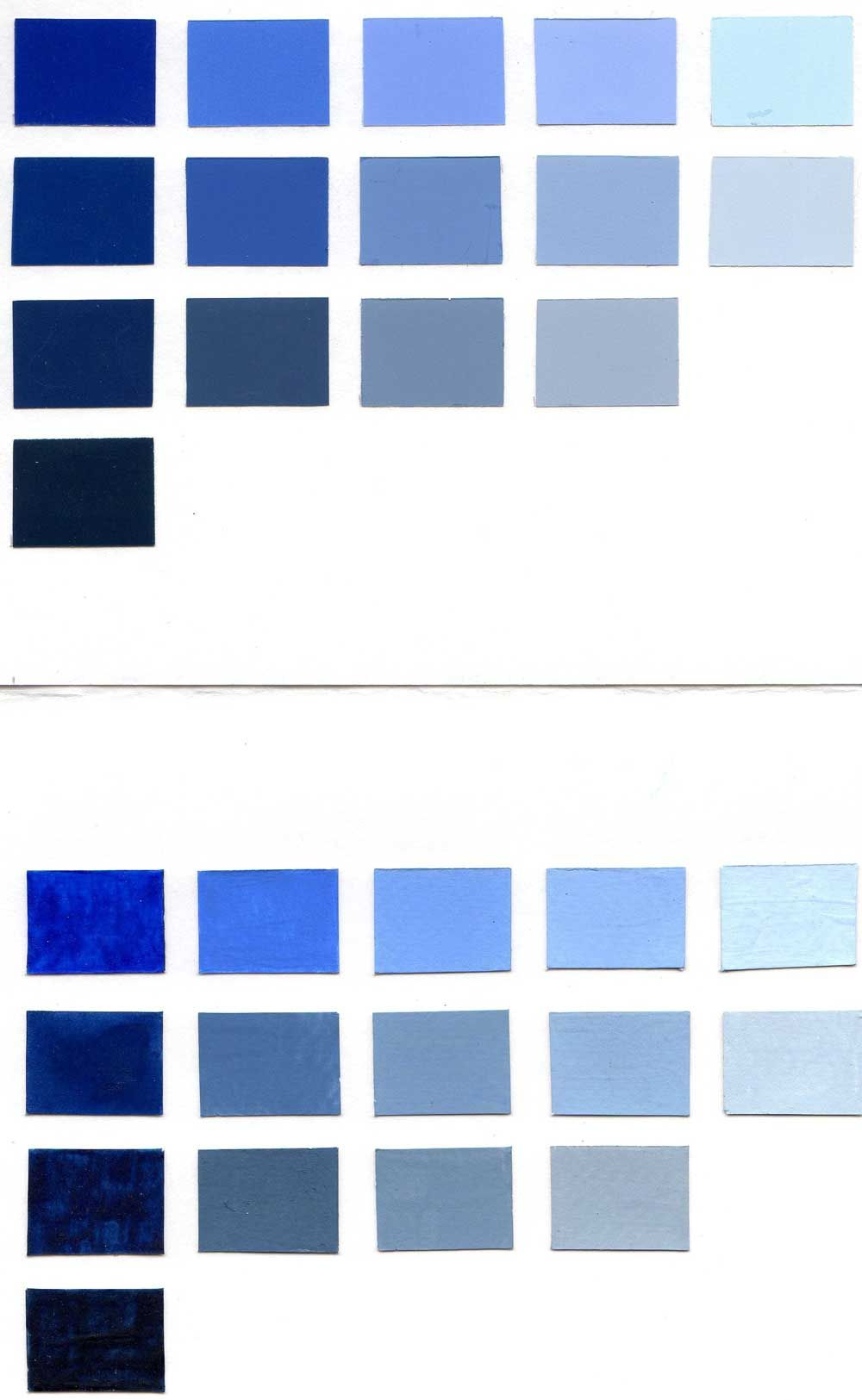 Shades Of Blue Paint Color Chart Blue Paint Colors Blue Paint