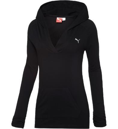 The key to this hooded V-neck top in black & white #Puma