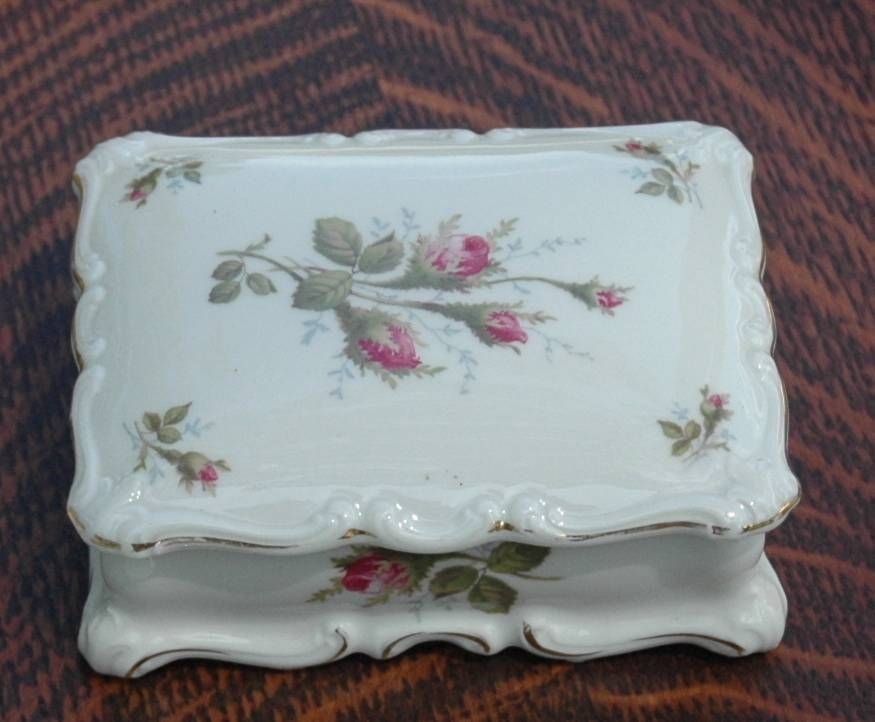 Vintage Early 1900's Selb Rosenthal Pompadour Pattern Cigarette Box with Lid