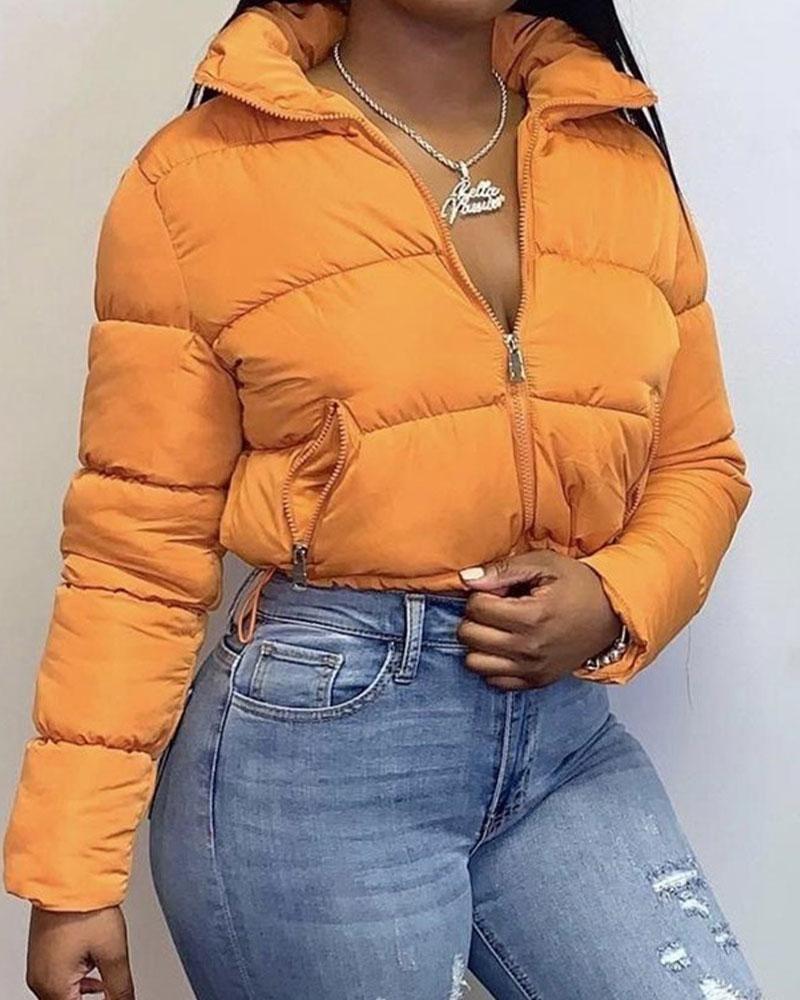 Solid Zip Up Slant Pocket Puffer Jacket Flamingo Shop In 2021 Winter Jackets Women Winter Coats Jackets Jackets For Women [ 1000 x 800 Pixel ]