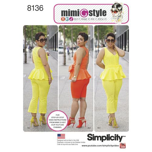 Simplicity Pattern 8136 Mimi G Style Peplum Top with Cropped Pants ...