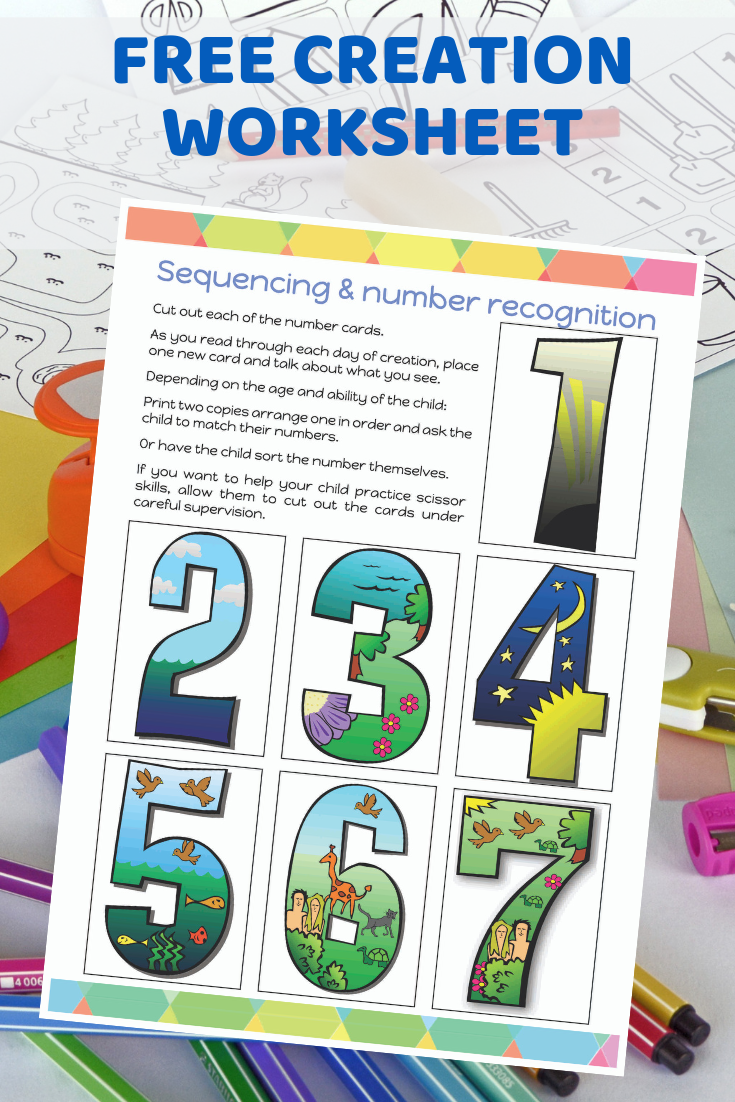 Free printable Days of Creation sequencing and number ...