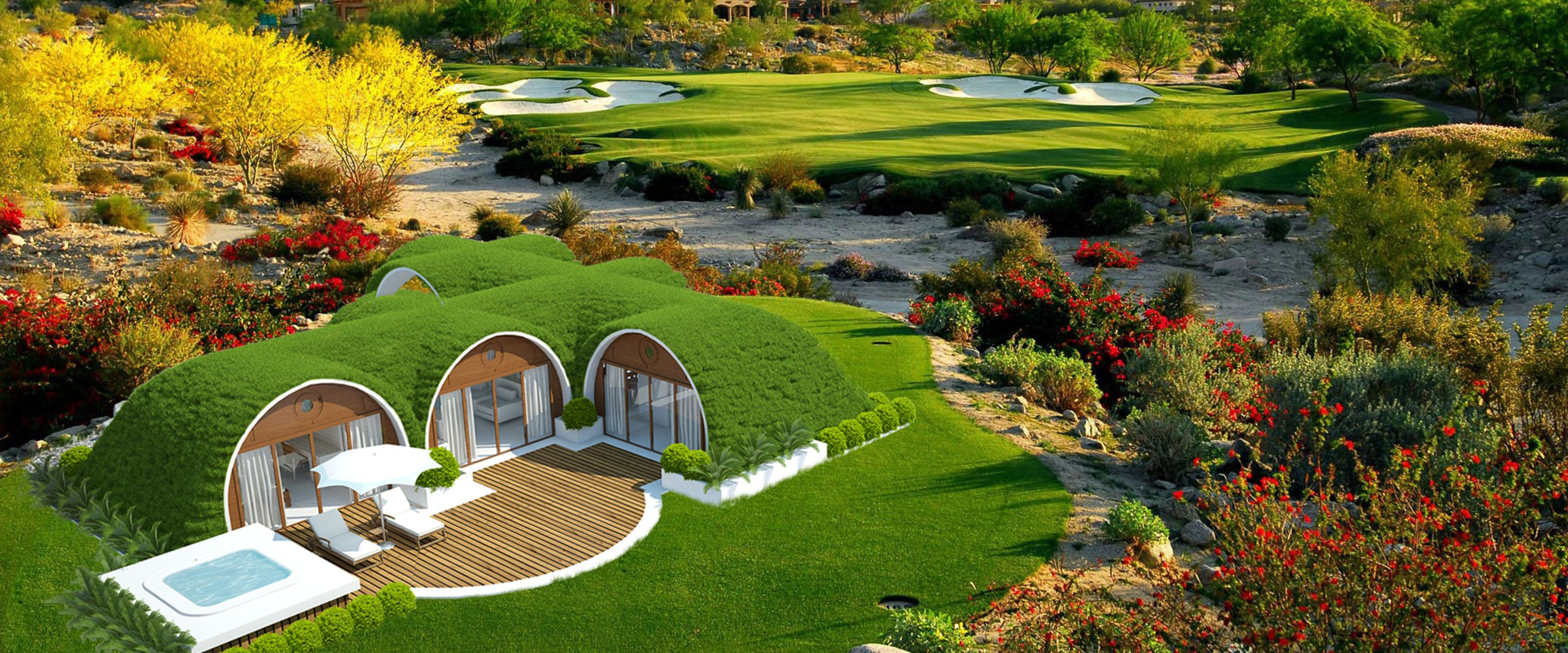Earth sheltered homes covered with soil grass and gardens for Earth covered homes