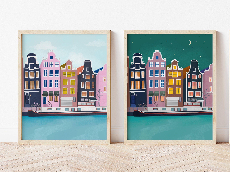 Amsterdam City Wall Art Prints Set Of 2 Day Night Wall Etsy City Wall Art Wall Art Prints Art Prints