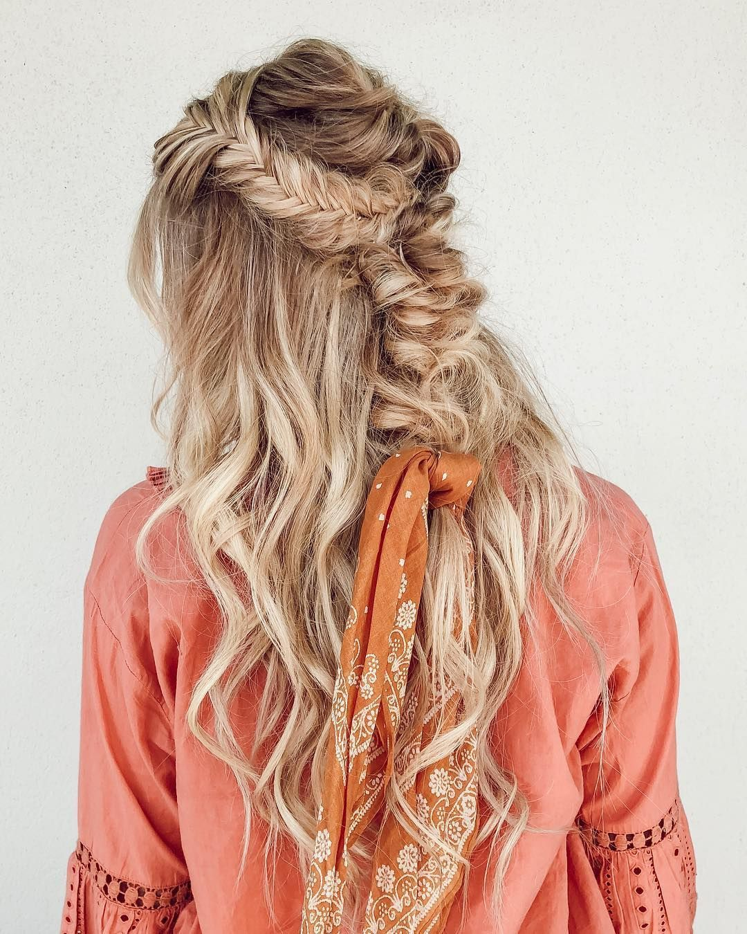 Half up half down hairstyle braids bandanas weddinghair