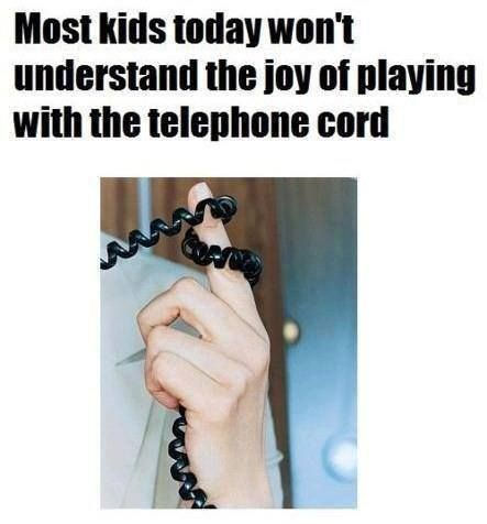 Most kids today won't understand the joy of playing with the telephone cord. Who remembers doing this?  www.SecretFashionFixes.com
