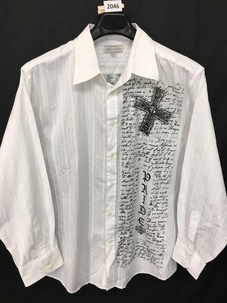 Mens 2xl xxl slim eighty eight dress shirt white long
