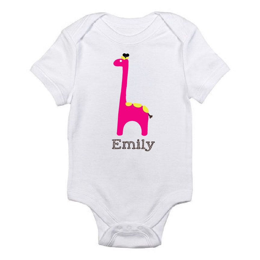 Giraffe design custom name baby shirt personalized onesie baby personalized baby shirt baby girl baby shower gift giraffe custom shirt negle Images