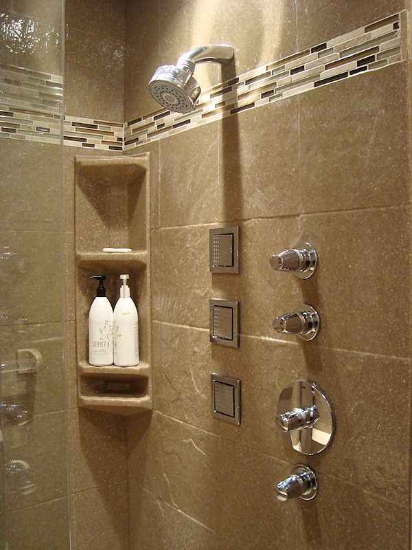 Slate tile shower panels with corner caddy | Onyx Collection Showers ...