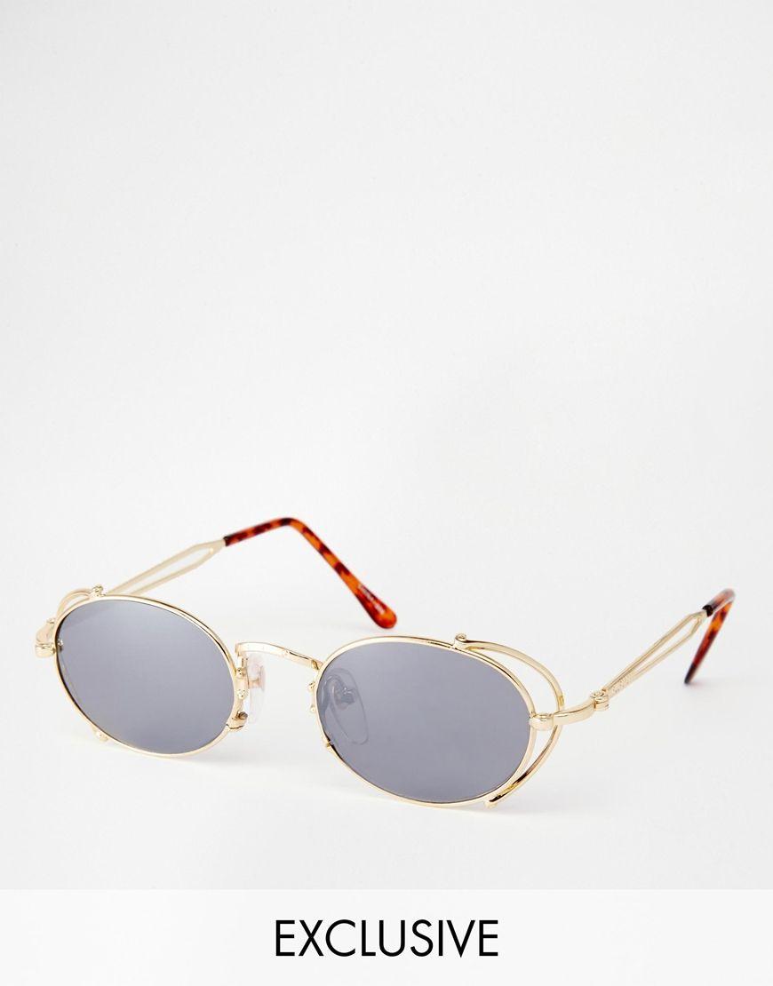 Sonnenbrille von Reclaimed Vintage Metallgestell verstellbare Nasenpolster aus Silikon für besonderen Komfort dunkel getönte Gläser schmale Bügel mit abgerundeten Enden für einen sicheren Sitz voller UV-Schutz