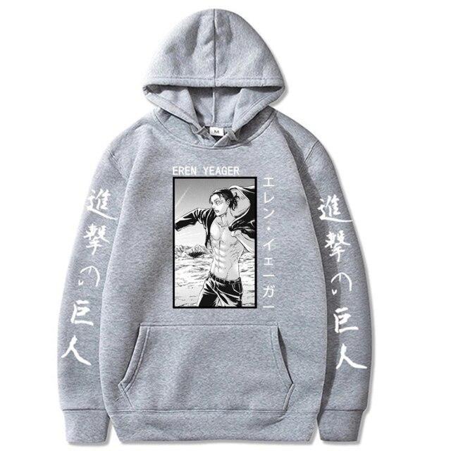 Attack on Titan Printed Men/women Hoodie Long Sleeve Sweatshirt – GRAY / L