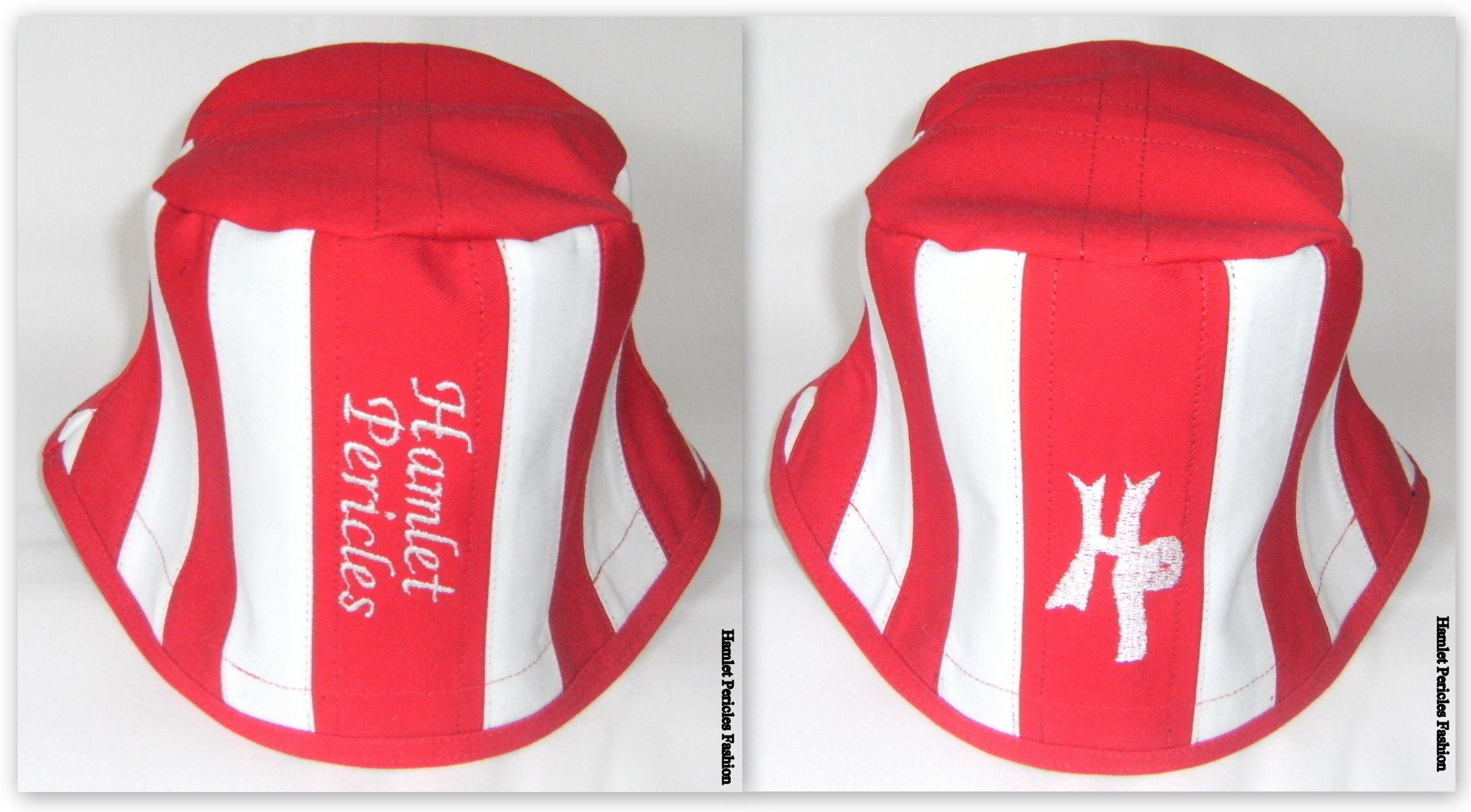 2b2f3794e0c Hamlet Pericles  Red-white Denim Patchwork Bucket Hat