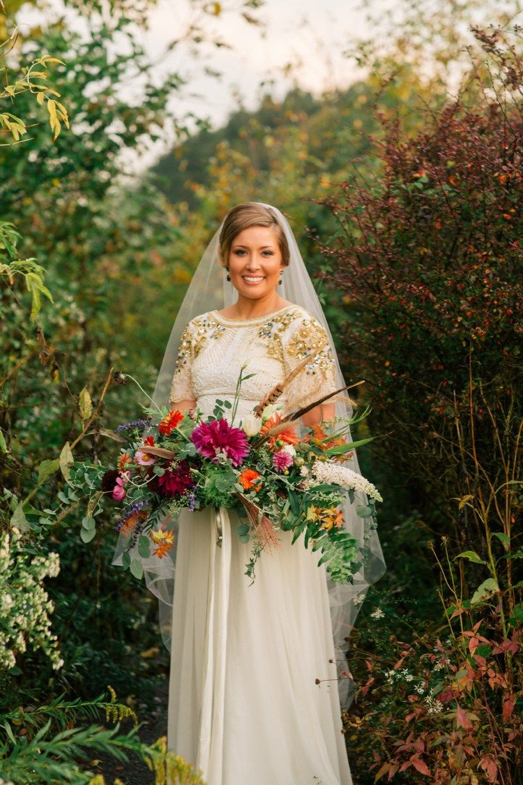 Brides wedding dress with sequins on sleeves wedding bride