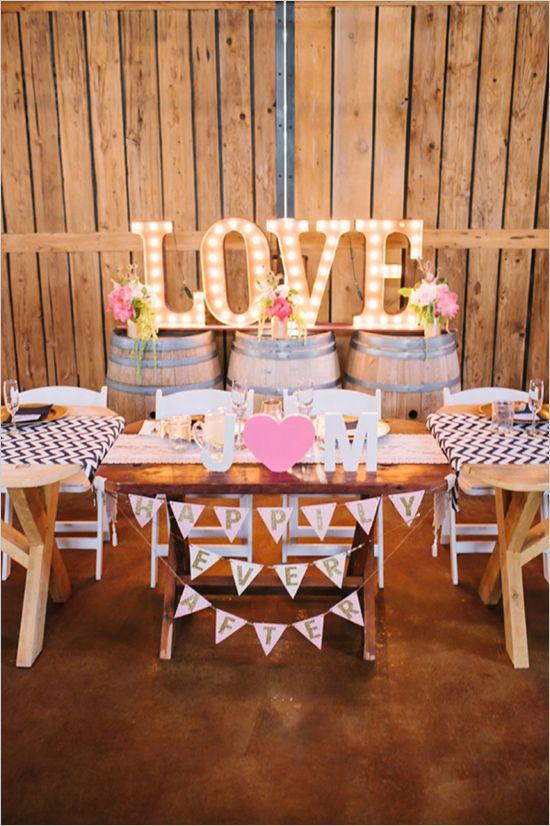 love wedding sign http://www.weddingchicks.com/2013/10/03/pink-and-gold-wedding-3/