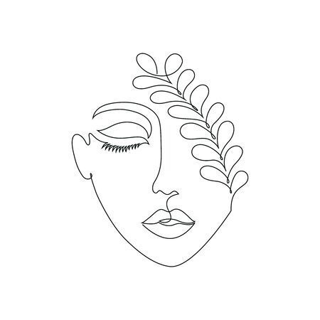 Photo of Woman on white background.One line drawing style.Tattoo idea