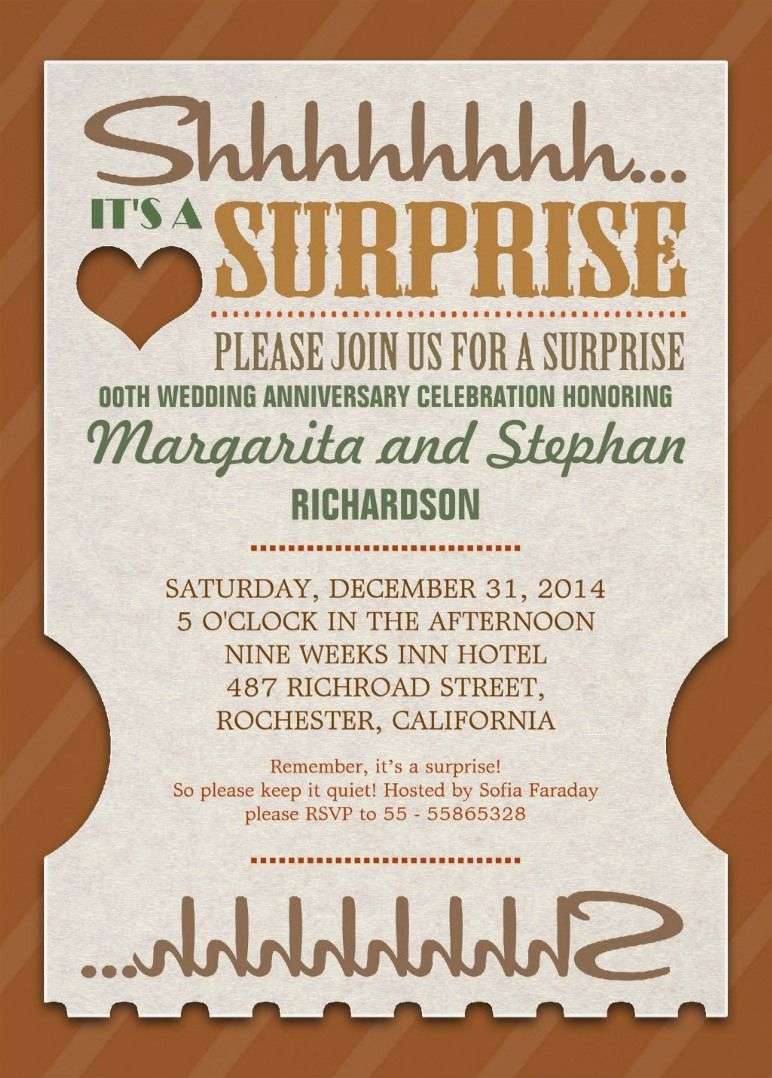 Surprise Wedding Anniversary Beautiful Invitations Feature The Words Shh It Wedding Anniversary Invitations 60th Anniversary Parties 60 Wedding Anniversary