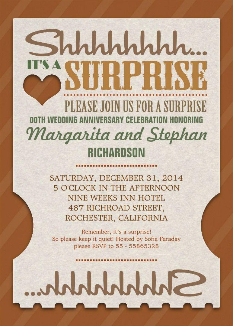 Surprise wedding anniversary beautiful invitations | Pinterest ...