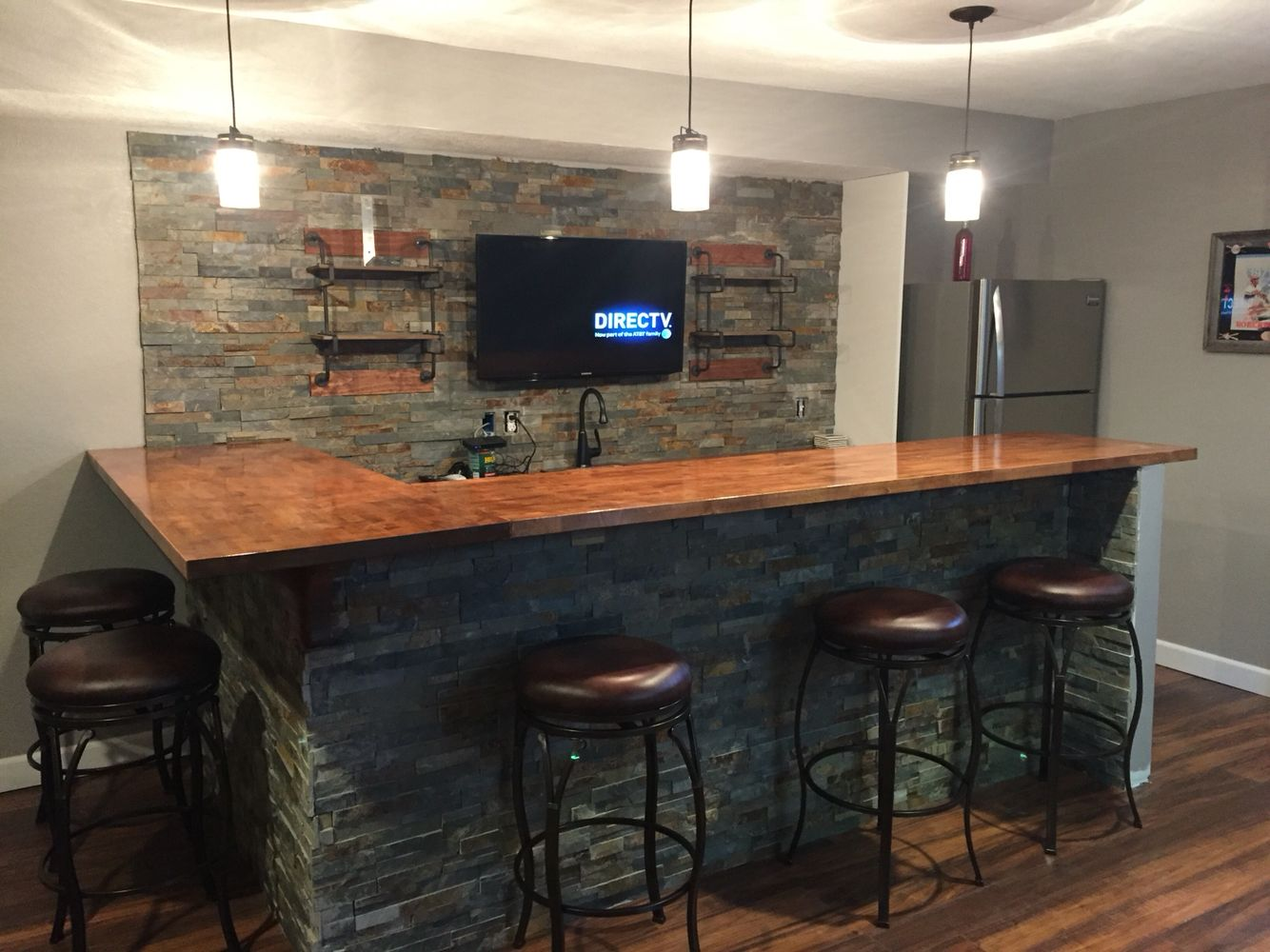 Man cave, basement bar, ledge stone and butcher block bar ...