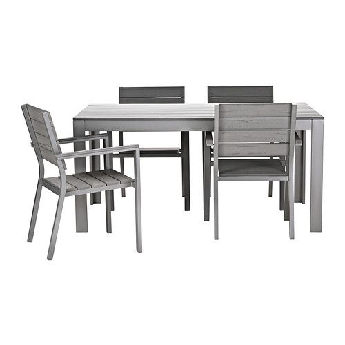 Falster Table And 4 Armchairs Ikea Polystyrene Slats Are Weather Resistant Easy To Care For