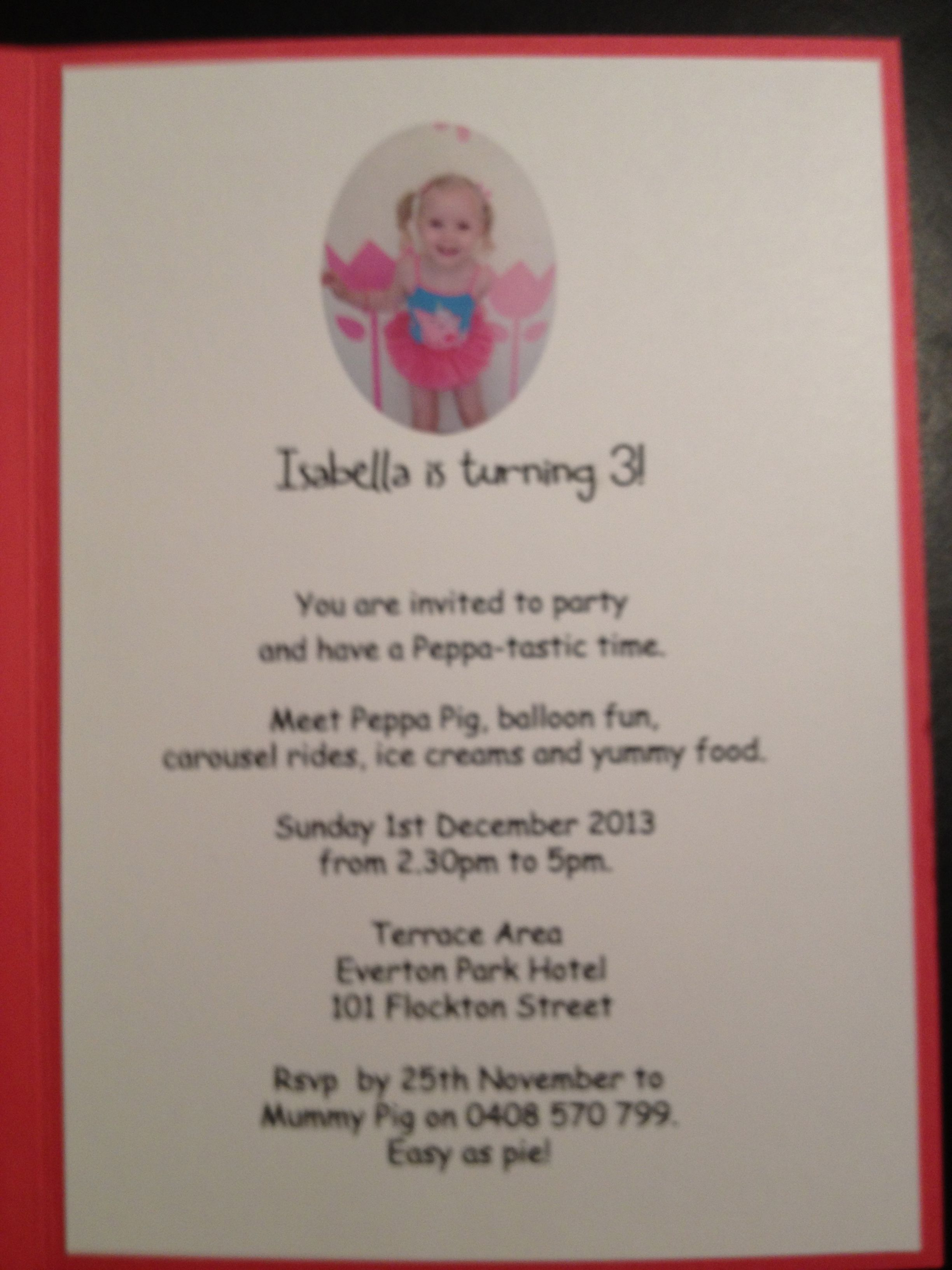 wording for peppa pig party invite