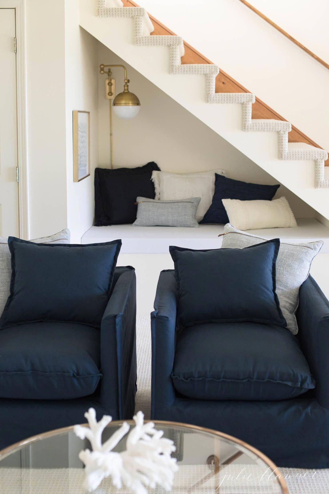 Make the most of an open staircase with these under stairs