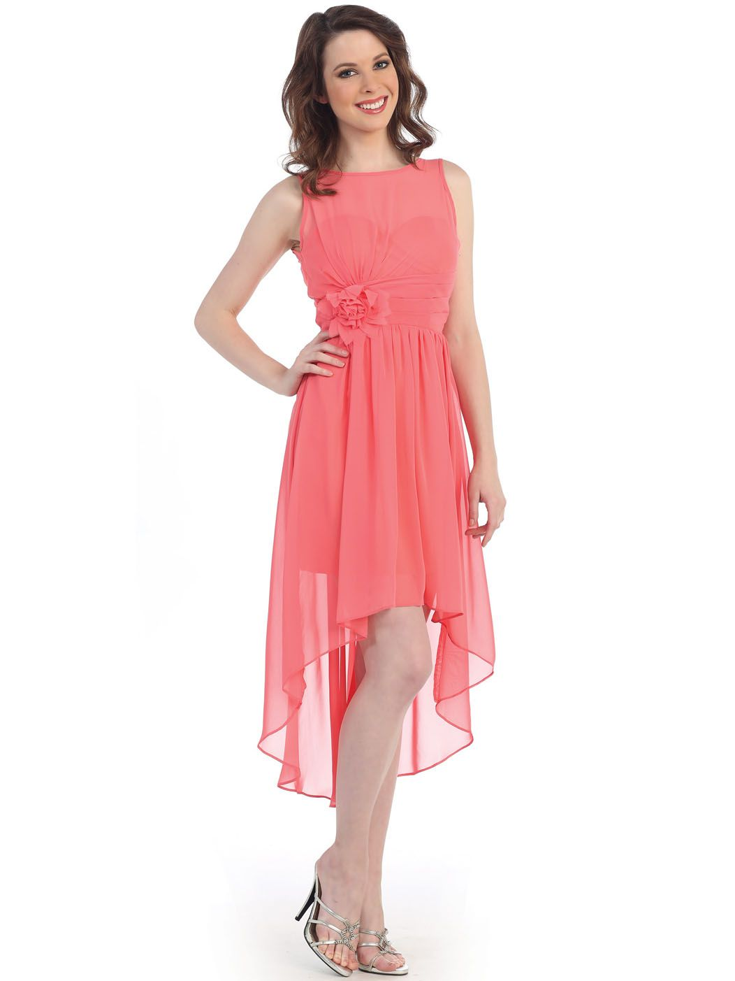 ebd1e5c9bd CN1381 Chiffon High Low Cocktail Dress - Coral