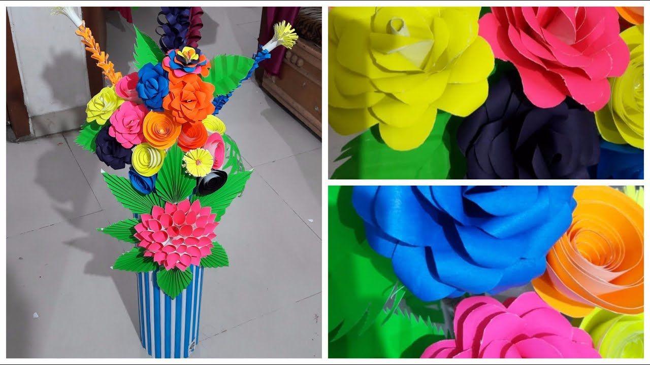 Making Paper Flower Vase Diy Crafts Tips Organizing Paper
