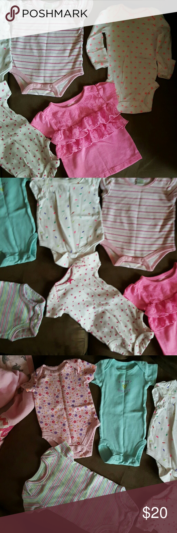 8 onsies Different cute onsies.  All baby clothes can be mixed so if you like something from this one and one from a different listing just let me know Carter's One Pieces Bodysuits