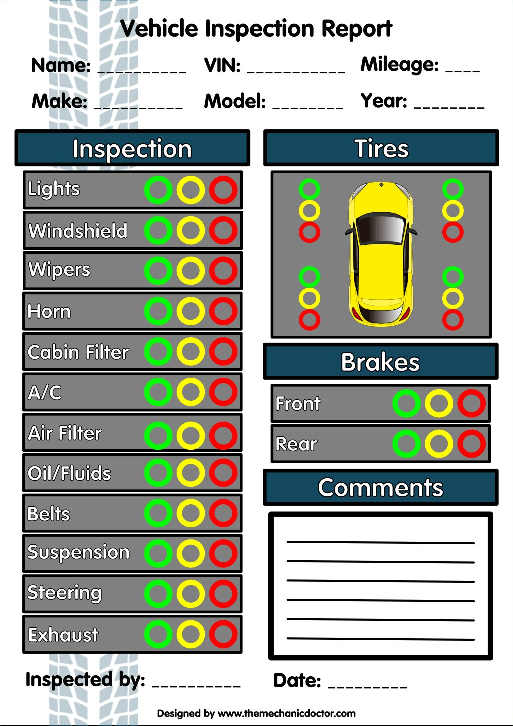 Vehicle Inspection Report Template Download Calep With Regard To Vehicle Inspection Report Templat Vehicle Inspection Inspection Checklist Checklist Template Vehicle check in sheet template