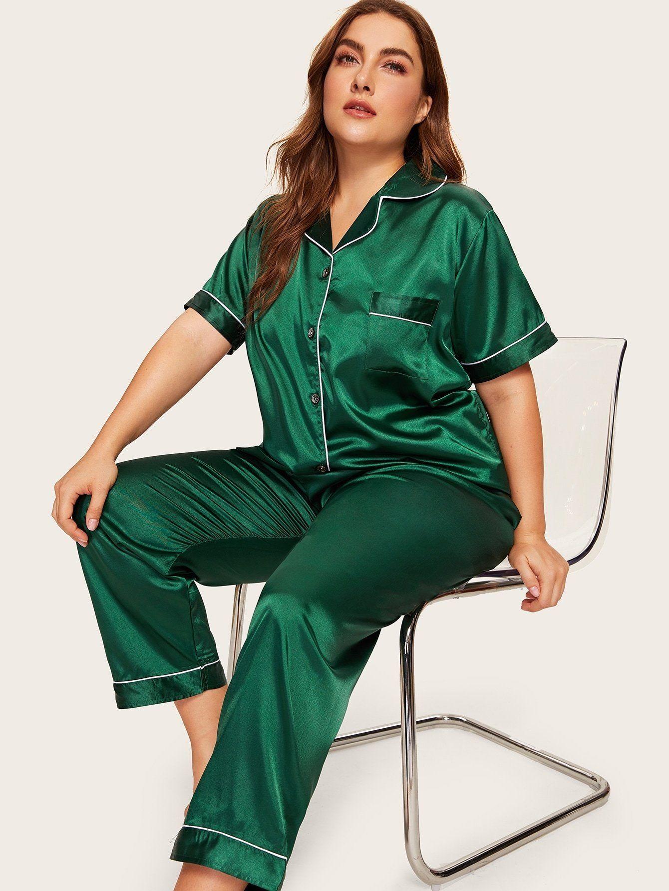 Plus Contrast Binding Satin Pajama Set